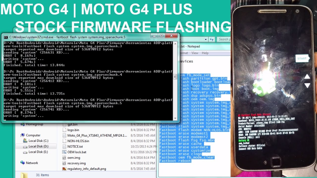 FLASH/UNBRICK MOTO G4 PLUS AND MOTO G4 | MOTO G4 PLUS FLASHING TUTORIAL