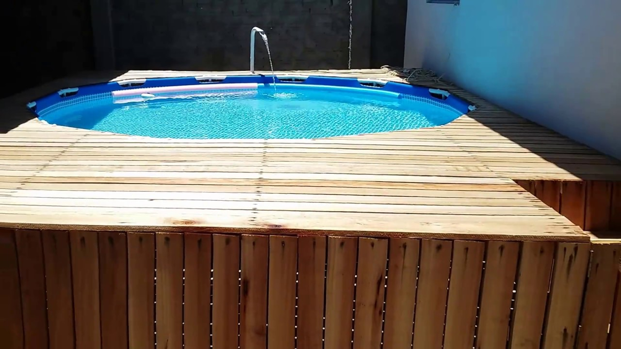 Piscina intex 6503 litros com deck parte 1 youtube - Piscina pequena plastico ...