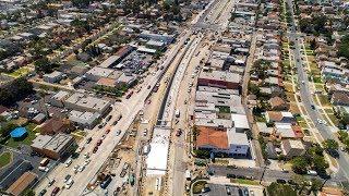 Aerial footage of Crenshaw Blvd. restoration at Leimert Park Station