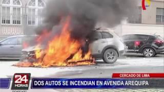 Santa Beatriz: camioneta se incendió en plena av. Arequipa (2/2)