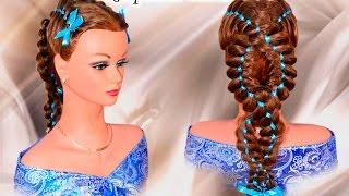 Четырехпрядная коса с лентой на длинные и средние волосы. Капралова Ольга