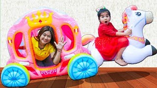Suri Pretend Play w/ Giant Inflatable Princess Horse Carriage Toy