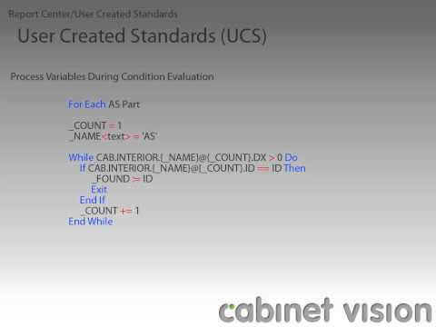 Cabinet Vision Version 8 Reports and UCS's