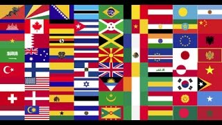 Flags of All Countries of the World with Names 1st part music by Klimpers
