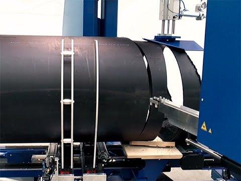 Работа ленточнопильного станка для полимерных труб большого диаметра BSM 800