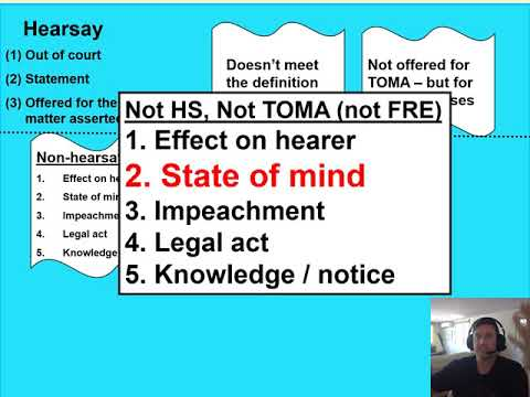 State of mind hearsay exception vs. circumstantial evidence of state of mind definitional argument