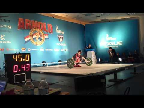 Kyle Holman (56kg lifter) 1st snatch attempt. Arnold 2015.
