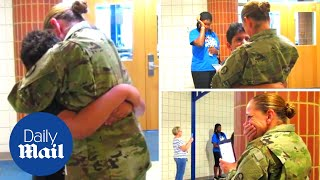 Mother surprises son after a year of deployment - Daily Mail thumbnail