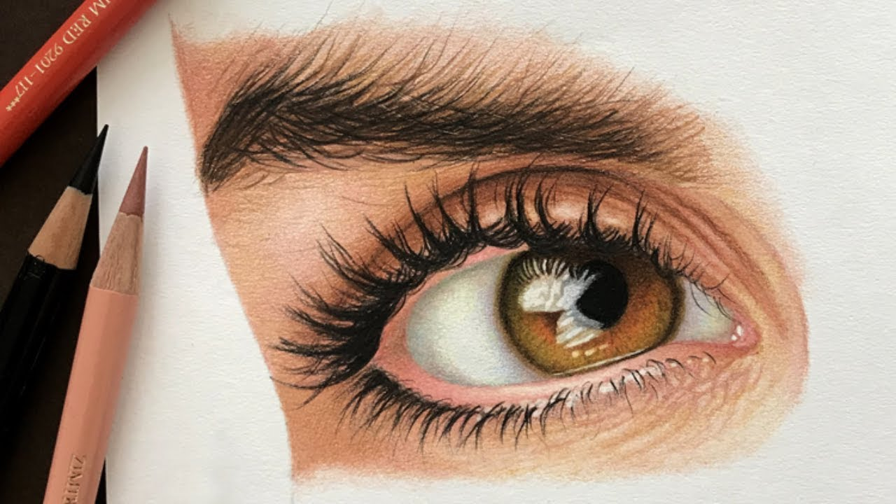 how to draw a realistic eye with colored pencils part 1