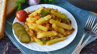 Жареная картошка с морковью луком и чесноком на сковороде видео рецепт
