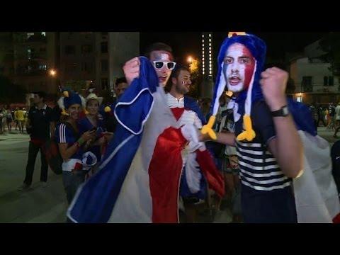 France and Ecuador fans in Rio de Janeiro