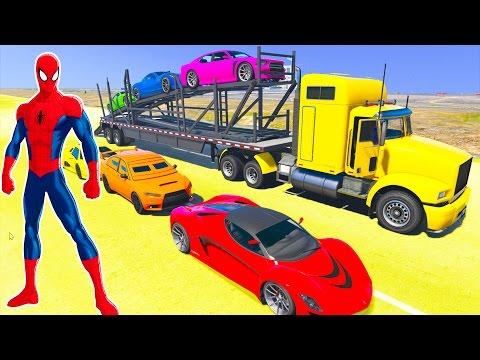 Auto Transport Truck w Spiderman Cartoon for Kids Nursery Rhymes songs