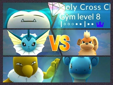 Pokémon GO Gym Battles Lapras Snorlax Growlithe Hypno & Vaporeon