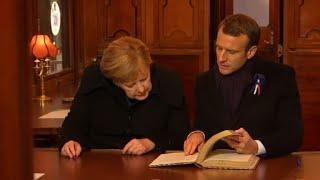 Macron y Merkel recuerdan de la 1ª Guerra Mundial