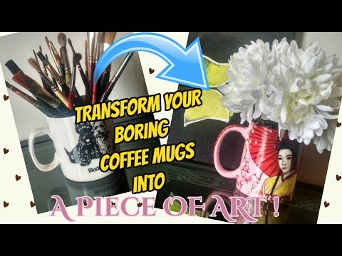 DIY: Decoupage tutorial on Ceramic Coffee Mugs....Upcycle your Boring Mugs using Tissue Paper!!!