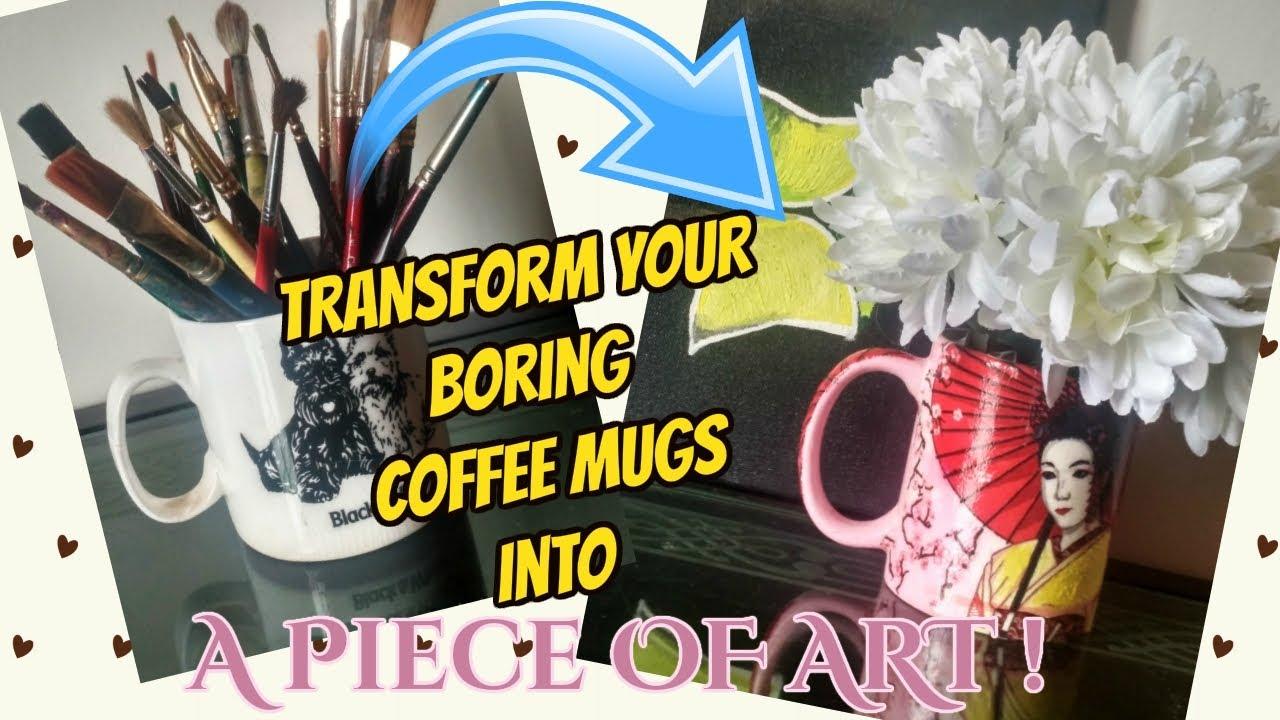 Your upcycle Tissue Using On Ceramic Coffee Tutorial DiyDecoupage Mugs Boring Paper Mugs CoWerxdB