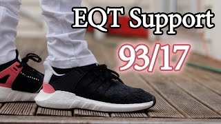 adidas eqt support 93 17 black turbo unboxing close up and on feet