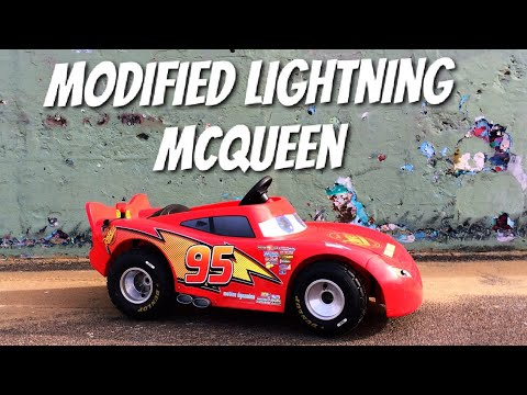 Modified Power Wheels Lightning McQueen,36v 50amp Controller.Best electric ride on for kids 2017