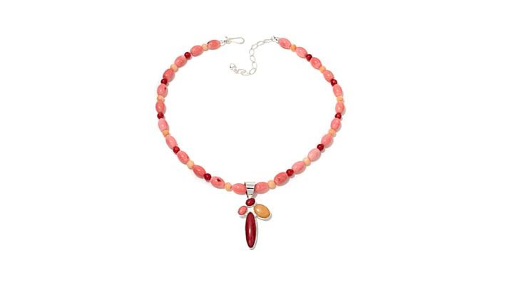 Download Jay King TriColor Bamboo Coral Pendant with Necklace