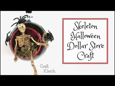 Skeleton Halloween Dollar Store Craft | Halloween Crafts | Craft Klatch