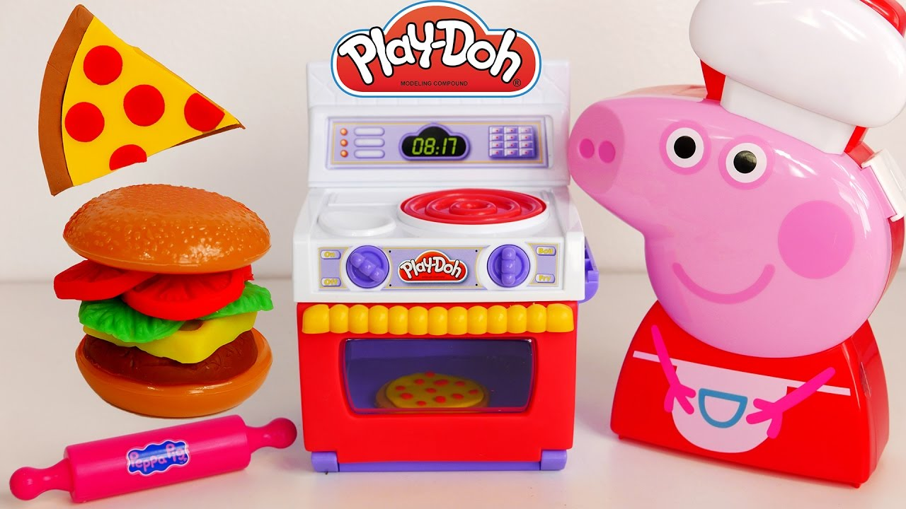 Pig Kitchen Corner Cabinet Peppa Cooking Case Play Doh Pizza Burger Youtube