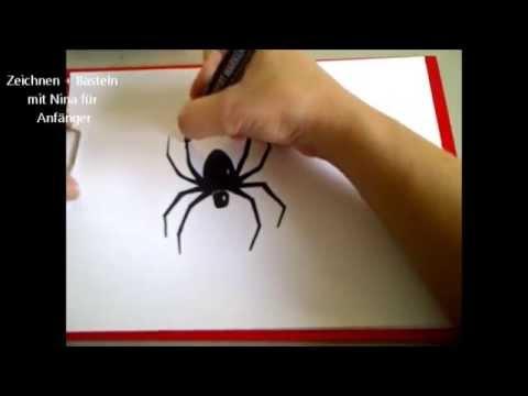Eine Spinne zeichnen. How to Draw: Spider.  Schritt-für-Schritt-Anleitung