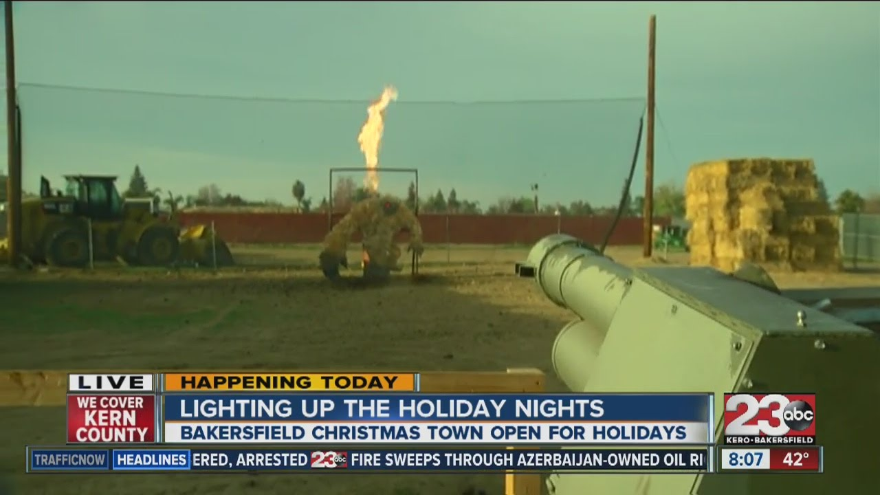shooting a potato cannon at bakersfield christmas town - Bakersfield Christmas Town