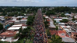 Drone images of migrants at the Guatemala-Mexico border