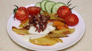 Запеченная картошка с сырным соусом и хрустящим беконом