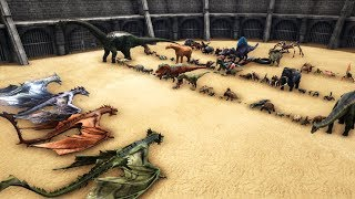 All Wyverns vs All Other Creatures in ARK (without OP Creatures) || Cantex