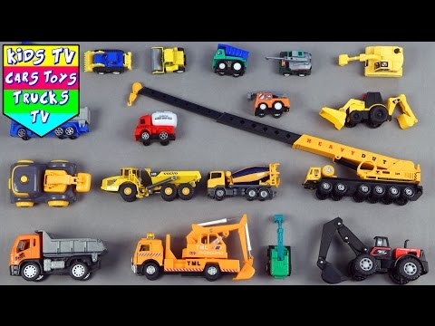 Learn Construction Vehicles For Kids Children Babies Toddlers With Dump Truck Road Roller Excavator
