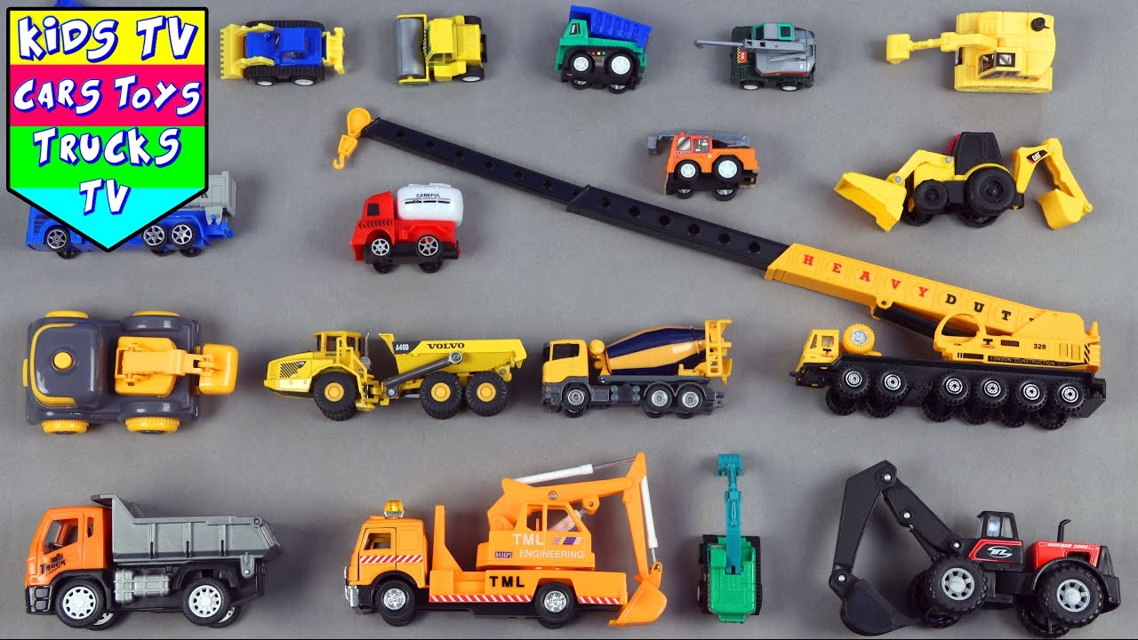 learn construction vehicles for kids children babies toddlers with