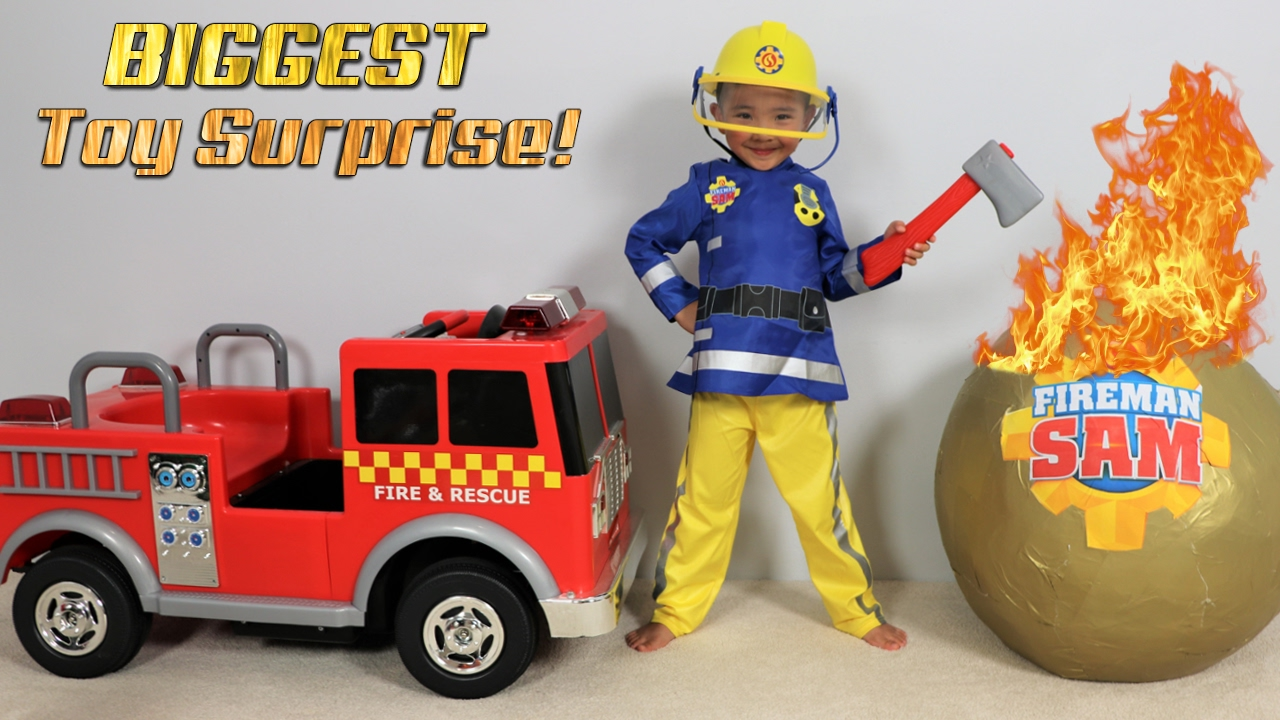 Gest Fireman Sam Toy Collection Ever Giant Surprise Egg Opening Fire Engine Truck Ckn