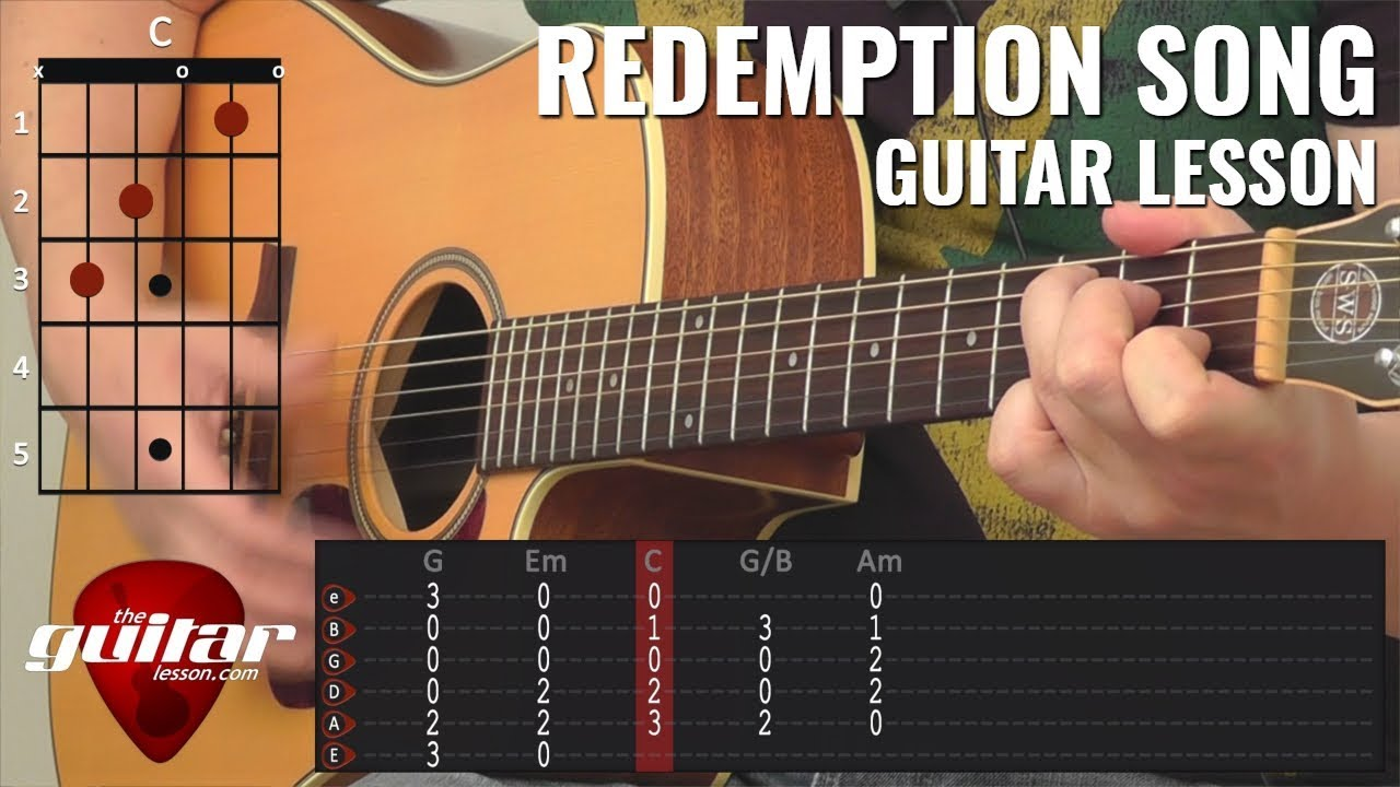 Redemption Song Guitar Lesson With Animated Chords Tabs Youtube