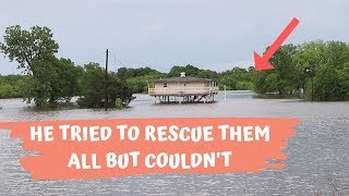Tried To Rescue All His Animals From The Flood But He Ended Up Getting Rescued!