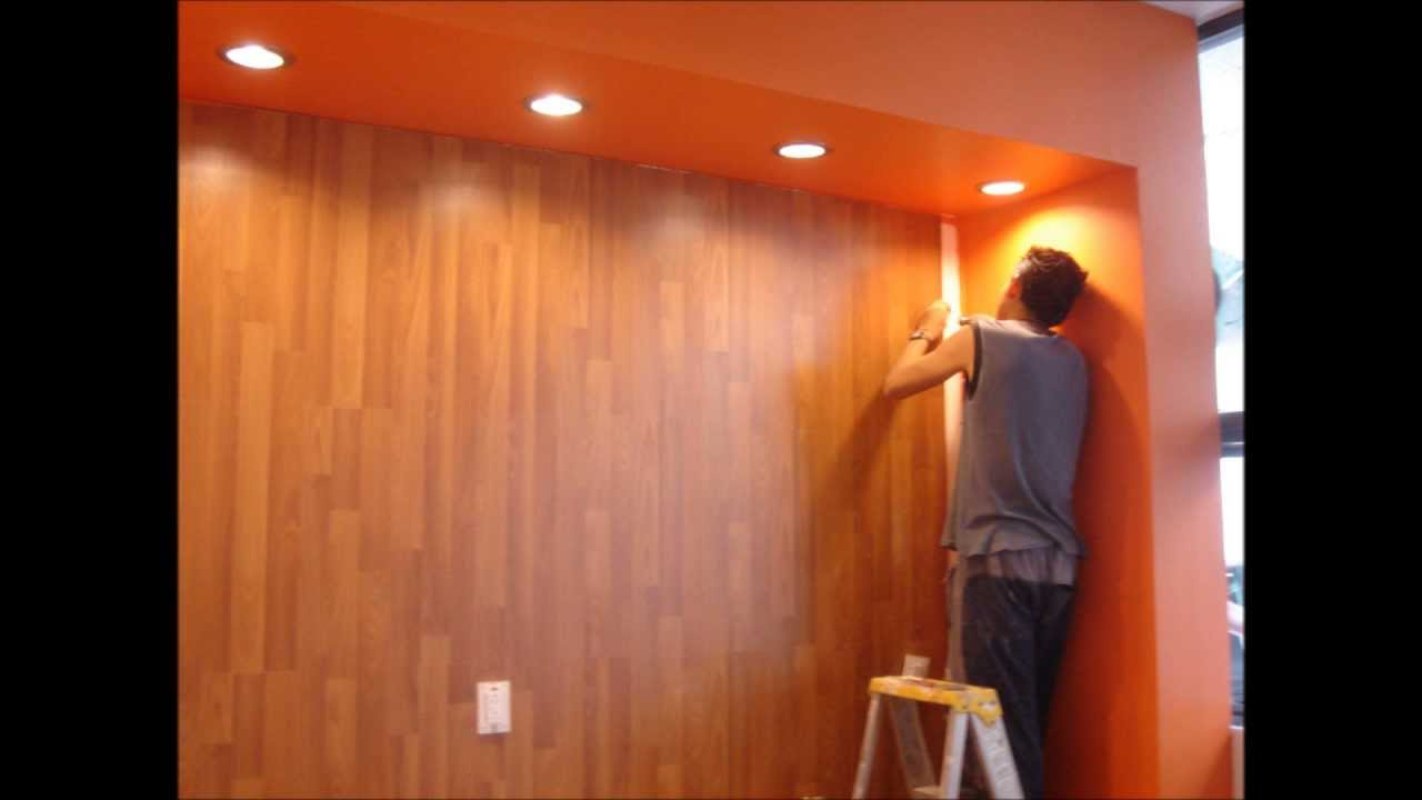 Piso laminado en muro marca hard co 7mm youtube for Como revestir una pared con ceramica