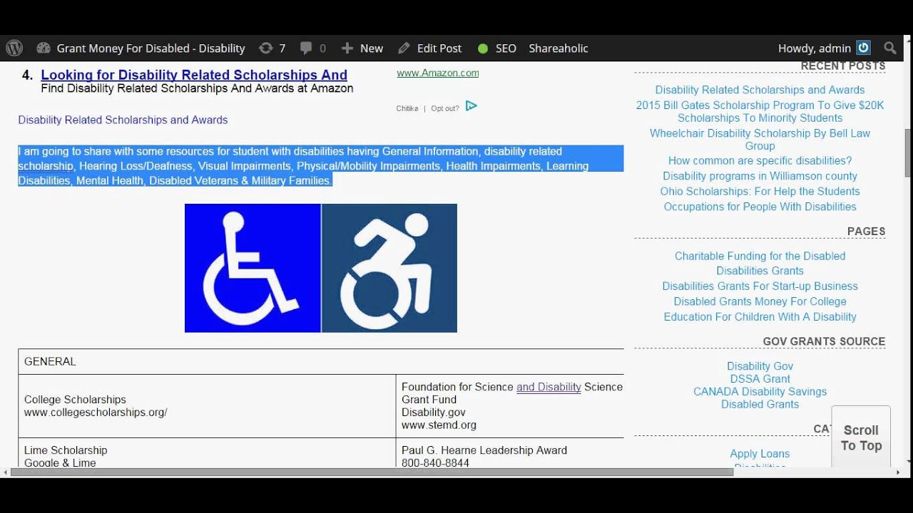 Disability Related Scholarships and Awards