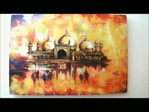 Badshahi mosque speed up painting
