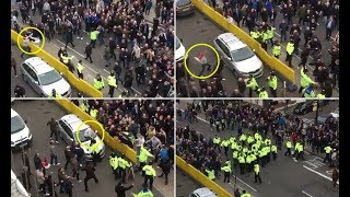 Chelsea and Tottenham fans clash yards from Stamford Bridge as heated London derby turns nasty