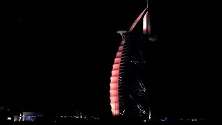 BURJ AL ARAB JUMEIRAH BEACH BY NIGHT DUBAI