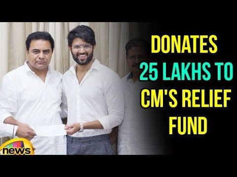 Vijay Devarakonda Donates Money he got from Auctioning Filmfare Award CM's Relief Fund | Mango News