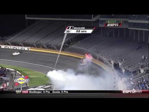 2009 NASCAR Nationwide David Gilliland Wreck at Charlotte Going 4 Wide