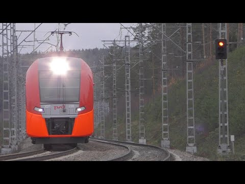 "Электропоезд ""Ласточка"" на приозерском направлении. Russian ""Siemens Desiro"" Near St. Petersburg."