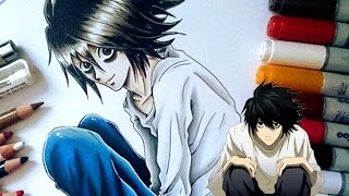 DEATH NOTE FANART- Drawing L with Tea and cake!- Cloctor Creations