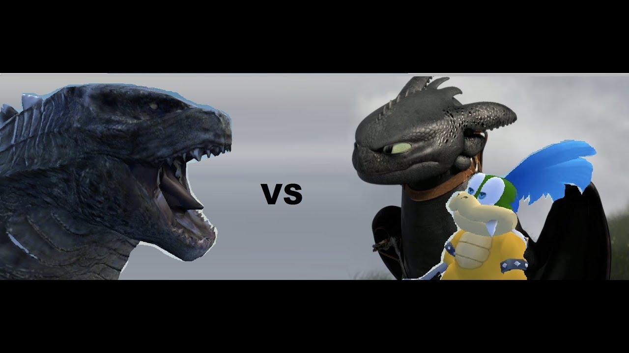 Larry Koopa And Toothless Vs Godzilla Youtube