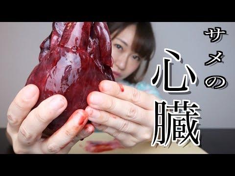 【閲覧注意】サメの心臓を生で食べてみた…