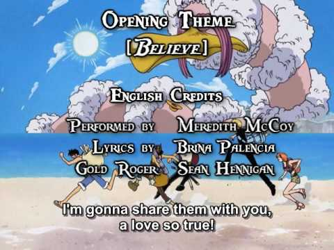 One Piece OP 02  Believe FUNimation English Dub, Sung  Meredith McCoy, Subtitled