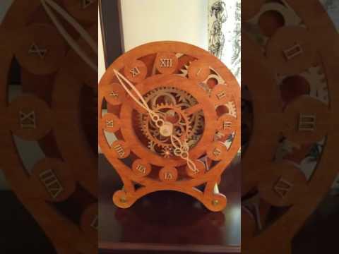Spring wound skeleton mantel clock