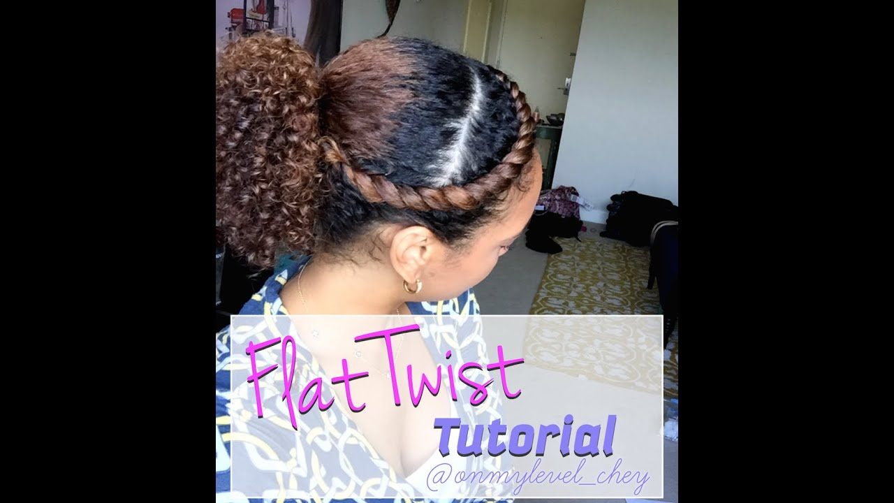 Front Flat Twist With Curly Ponytail Style