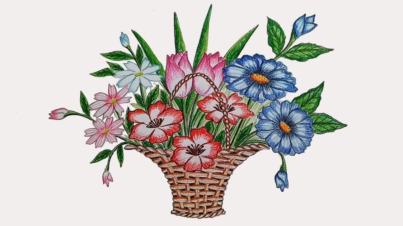 How to draw flower basket step by step - YouTube